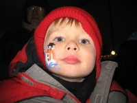 Sweet boy with a snowman face painting
