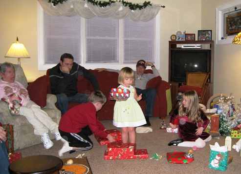 The kids open their presents