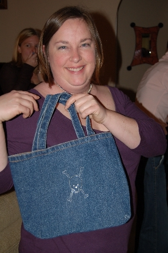 Jenny with skull and crossbones tote
