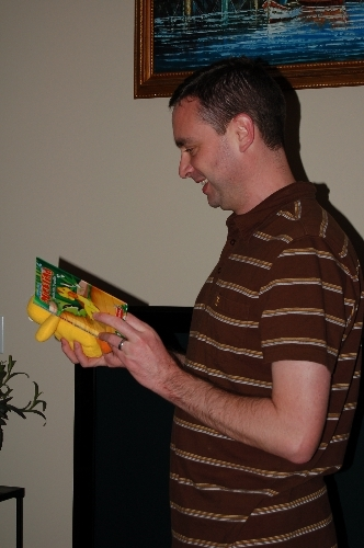 Dave opens Duckling present