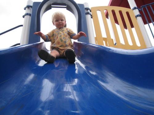 Down the big slide