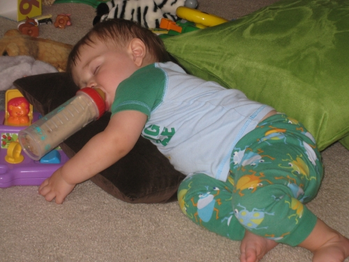 Snoozing with bottle