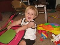 Laughing, playing.